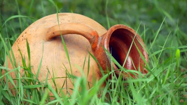 vidéos et rushes de vieille cruche en céramique se trouvant dans l'herbe close-up - picto urne