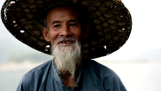 Old Chinese man close up video