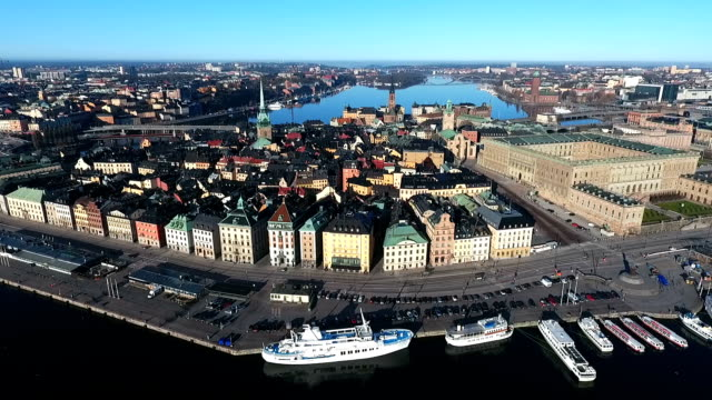 Old City Stockholm Aerial View video