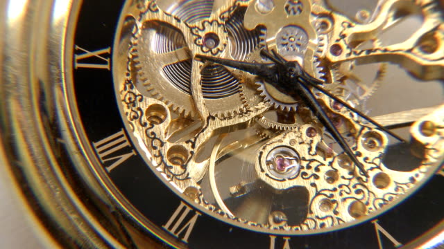 Old clock mechanism working Old clock mechanism working wristwatch stock videos & royalty-free footage