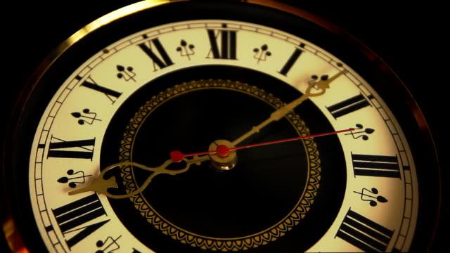 Old clock ticking closeup