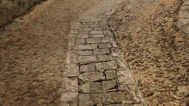 Old cobble streets in the medieval village of Beynac, Dordogne, France video