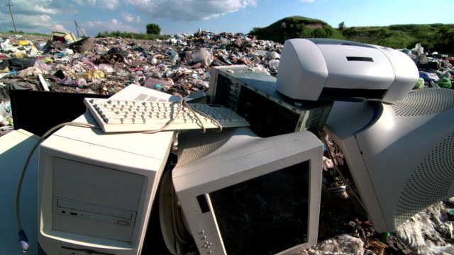 Old computer parts at the garbage dump video