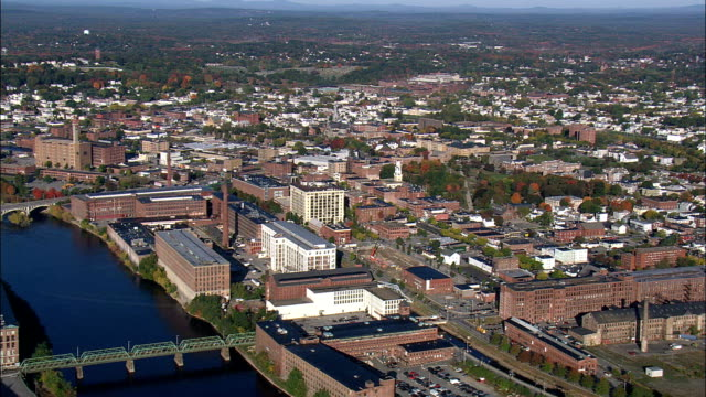 Old Cotton Mills At Lawrence  - Aerial View - Massachusetts,  Essex County,  United States video