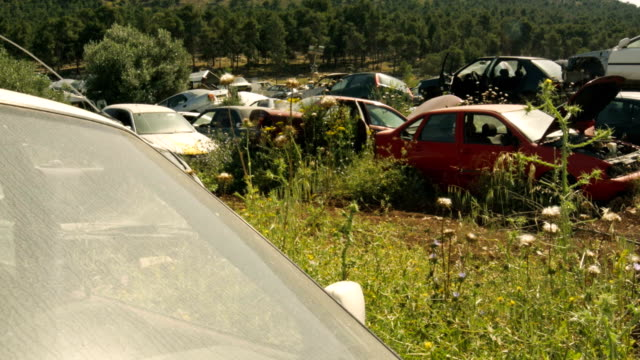Old crushed cars at junkyard video