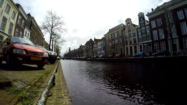 Old Dutch City Landscape with Canal, Bridge and Old Houses video