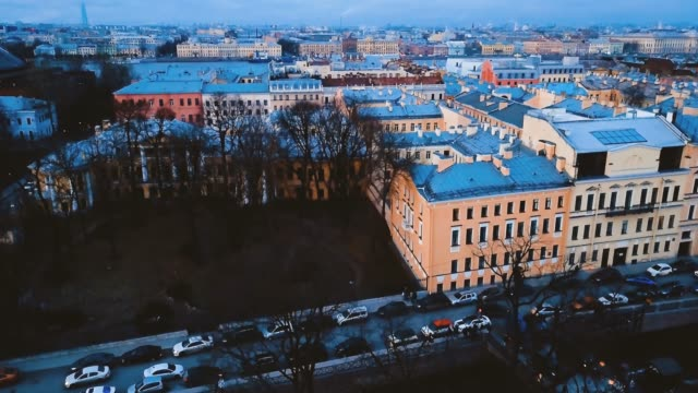 Old european buildings and facades in vintage style. in St. Petersburg, Russia. Aerial view of ancient european brick architecture. 4K flight. Cityscape Panorama