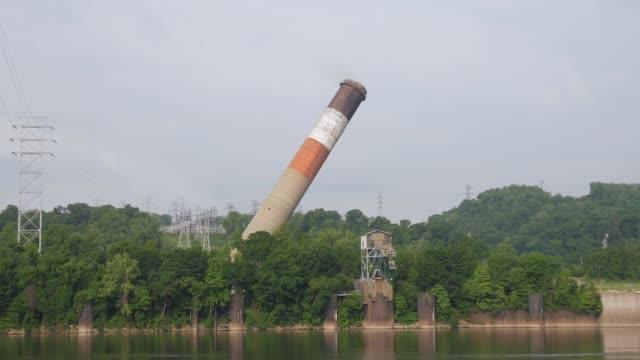 Old Factory Smokestack Implosion