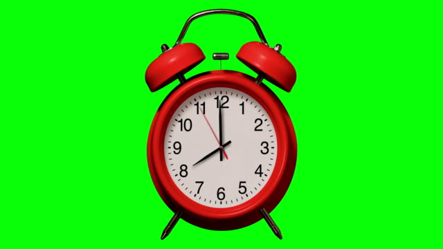 Old fashioned Red alarm clock rings at 8 O'Clock on Chroma Key Background