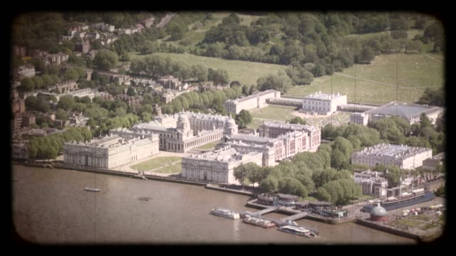 Old Film Aerial View of Greenwich Park in London, UK. 4K