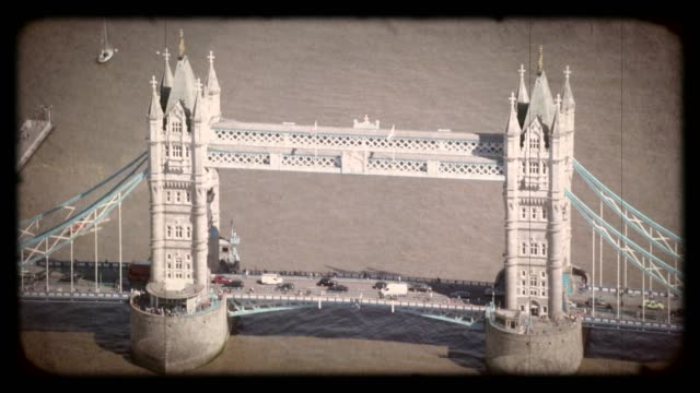 Old Film Aerial View of Tower Bridge, London, UK. 4K
