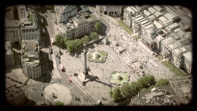 Old Film Aerial View of Trafalgar Square, London, UK. 4K