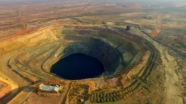 Old gold mine in the Australian outback. Aerial view
