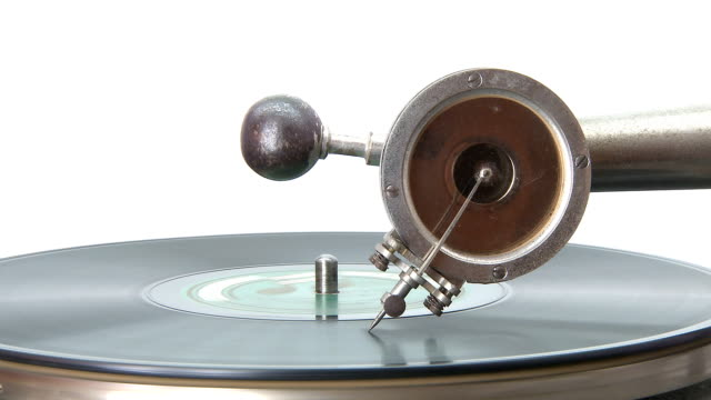 Old gramophone playing a disc Antique Gramophone playing a disc grooved stock videos & royalty-free footage
