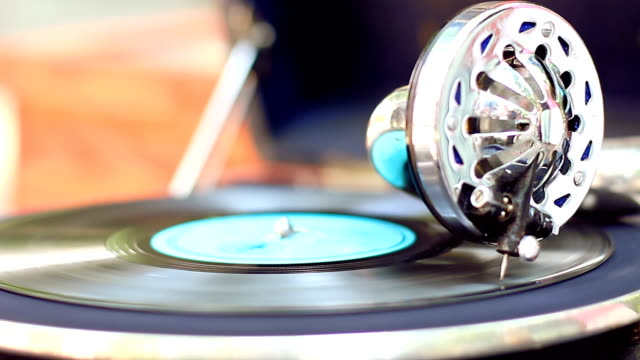 Old gramophone playing at sunny day. Good atmosphere video