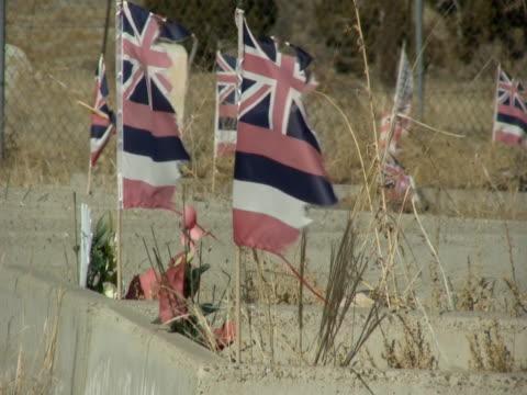 old grave yard with blowing flags ntsc - i̇badet yeri stok videoları ve detay görüntü çekimi