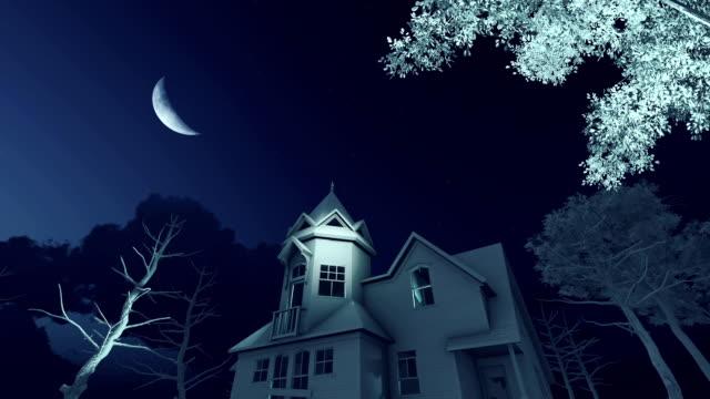old haunted house at scary night - полумесяц форма предмета стоковые видео и кадры b-roll