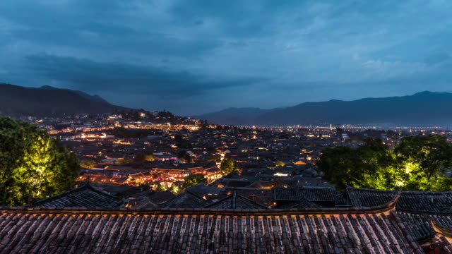 Old houses in Lijiang Dayan ancient city,Time lapse