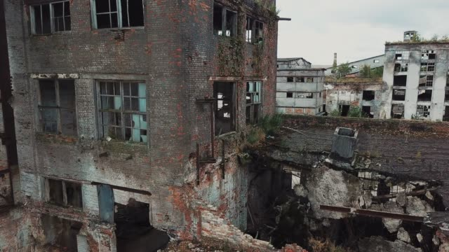 Old industrial building for demolition. Ruins of an old factory. Old industrial building for demolition. Aerial view syria stock videos & royalty-free footage