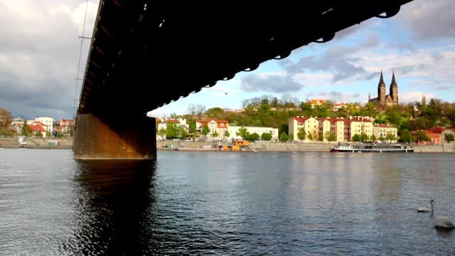 Old iron railway bridge in Prague,Czech Republic.
