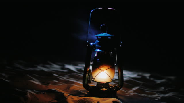 Old kerosene lamp shines in the darkness. Concept - mystic Halloween video