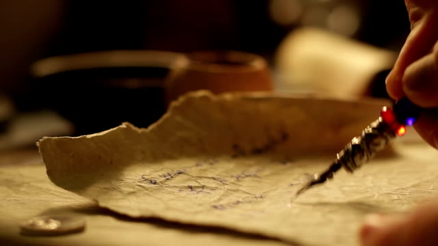 Old letter writing 2 Male hand writing on a paper. renaissance architecture stock videos & royalty-free footage