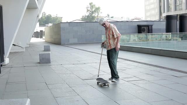 Old man falls. video