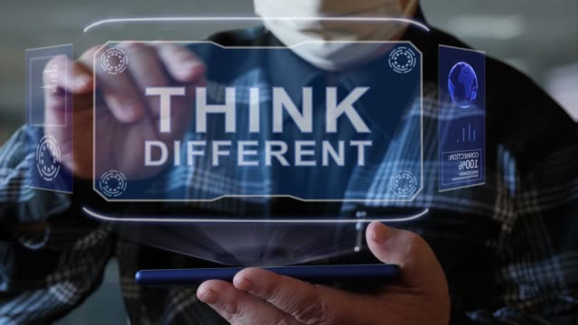 vídeos de stock e filmes b-roll de old man shows hologram with text think different - filosofia