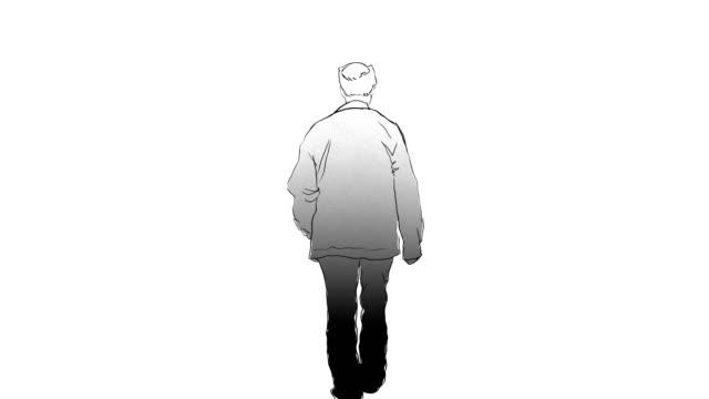 old man walking around frame by frame sketch and drawing animation - technika ilustracji filmów i materiałów b-roll