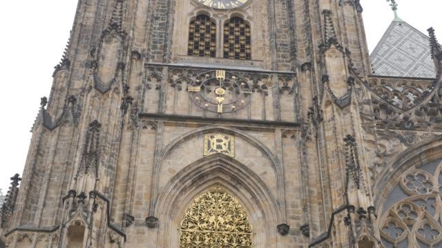 old metropolitan cathedral of saints vitus wenceslaus and adalbert 4k - gargoyle video stock e b–roll