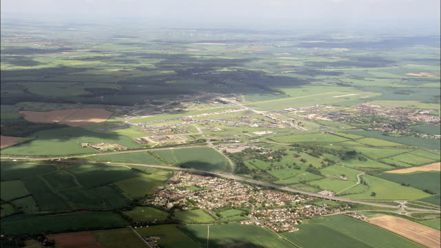 Old military airfield - Aerial View - England,  Cambridgeshire,  Fenland District helicopter filming,  aerial video,  cineflex,  establishing shot,  United Kingdom video