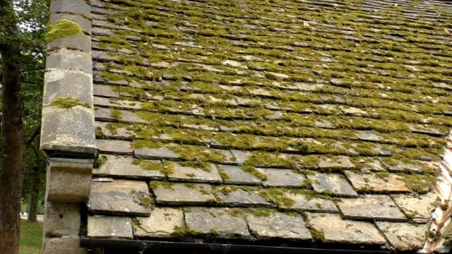 vidéos et rushes de vieux toit mousseux et meule - ardoise