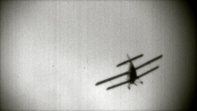 Old movie effect. Biplane video