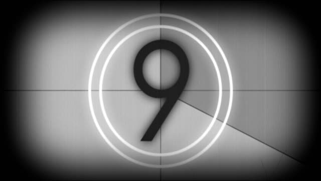 Old movie film leader with countdown