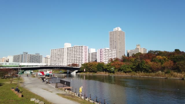 古中川リバーベッド日本の秋の色 - 土手点の映像素材/bロール