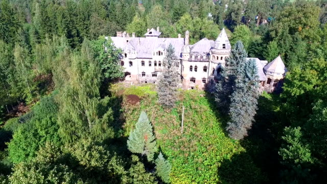 Old noble estates Ancient architectural monuments are destroyed for a long time turning into ruins mansion stock videos & royalty-free footage