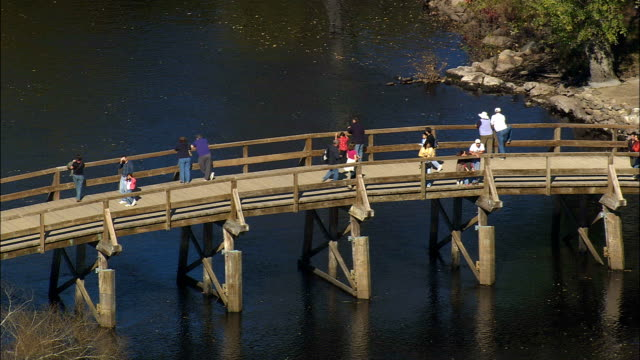 Old North Bridge  - Aerial View - Massachusetts,  Middlesex County,  United States video