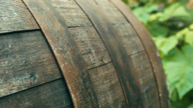 Old oak barrel close up