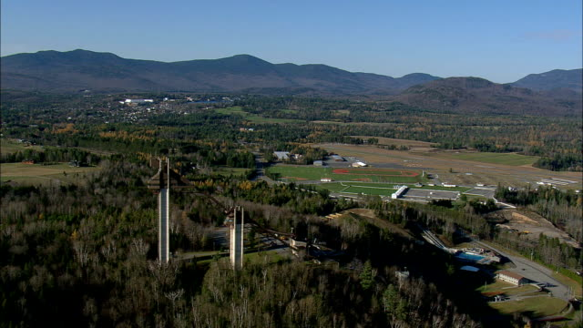 old Olympic ski jumps lake placid - Aerial View - New York,  Essex County,  United States video