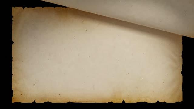 hd: alte papier biegen sie separate masken - schriftrolle stock-videos und b-roll-filmmaterial