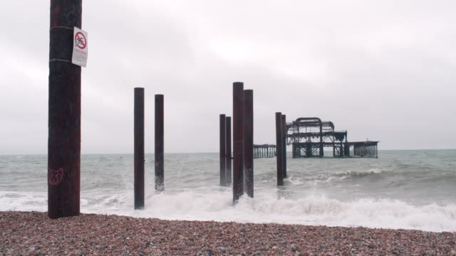 Old Pier Damaged West Pier in Brighton UK uk border stock videos & royalty-free footage