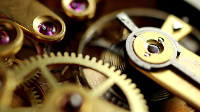 Old pocket watch movement, watch mechanism Macro video of an old watch mechanism with 17 jewels wristwatch stock videos & royalty-free footage