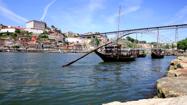 Old Porto and traditional boats with wine barrels, Portugal video