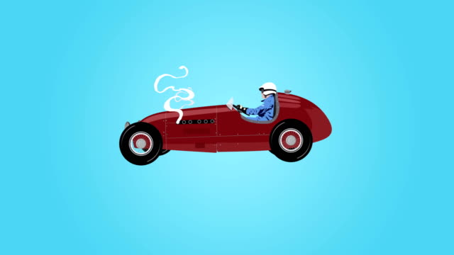 4K old racecar vector animation, loop video