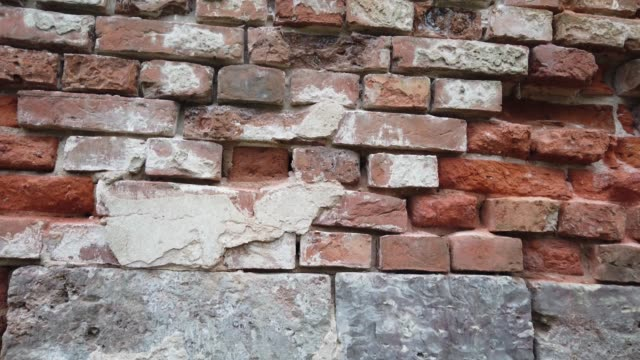 old red block brick wall, texture of brickwork close-up. - mattone video stock e b–roll