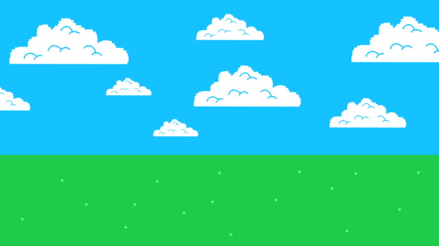 Old Retro Video Game Arcade Clouds Moving on a Blue Sky and Grass video