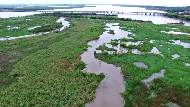 Old River and Lost lake Swampy Wetlands Aerial Fly over Texas Coastal Area video