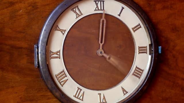 Old roman clock close up video
