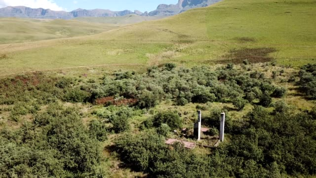 Old ruins of the Drakensberg Mountains Aerial view over the Drakensberg Mountains near Kwazulu-Natal, South Africa natal stock videos & royalty-free footage