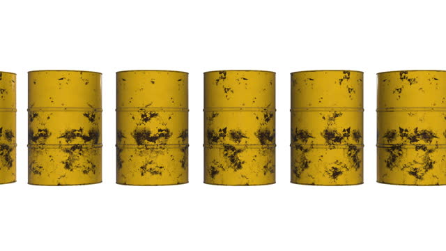 Old rust metal barrel oil row.
